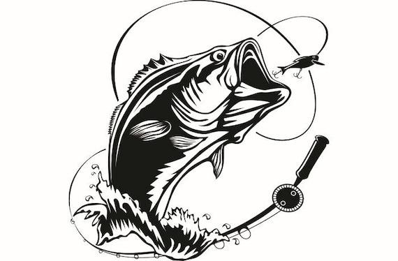 bass fishing 5 logo angling fish hook fresh water hunting rh etsy com Cute Fishing Hook Clip Art Circle Hook Clip Art
