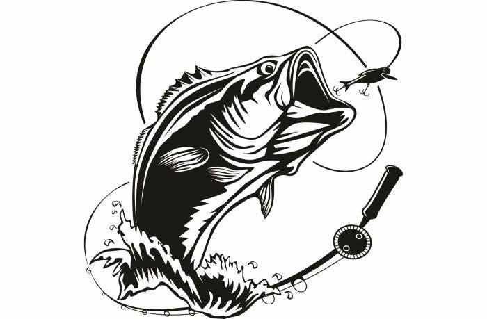 bass fishing 5 logo angling fish hook fresh water hunting rh etsy com bass fish clip art black and white bass fish clip art free