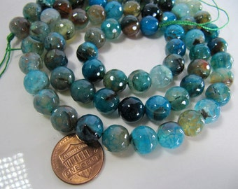 10mm AGATE Beads in Dark Turquoise Blue, Amber, Azure Blue, Round, Faceted, 1 Strand, Approx 37 Beads, Slightly Translucent