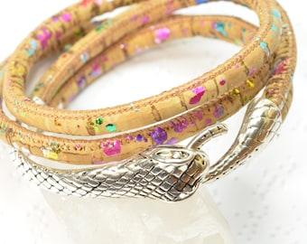 Snake Wrap Bracelet, Snake Bracelet, Ouroboros Bracelet, Serpent Bracelet, Rainbow Snake Jewelry Ouroboros Jewelry, Portuguese Cork Bracelet