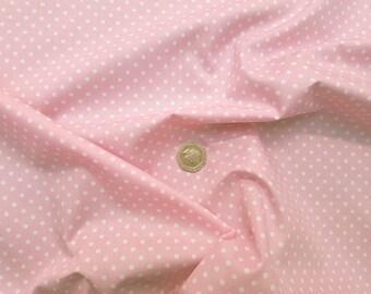 Rose & Hubble 100% Cotton Poplin Fabric - 3mm Polkadot Spot - Pale Pink - Dressmaking , Quilting, Craft Material