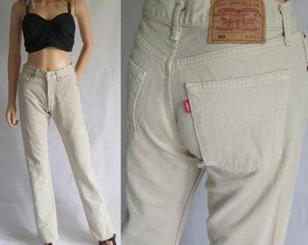 Levis 501 beige crème jeans, Pantalons Pantalon taille haute, jambe droite, grande hauteur, femmes, vintage rétro, braguette à boutons 4, taille 28, jambe 34