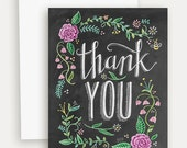 Floral Thank You with Color Card - Thank You - Chalkboard Art - Floral - Blackboard Card - Hand Lettering- Chalk Art
