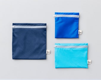 Atlantic trio ~ reusable sandwich and snack bags ~ Reusable snack and sandwich zipper bags