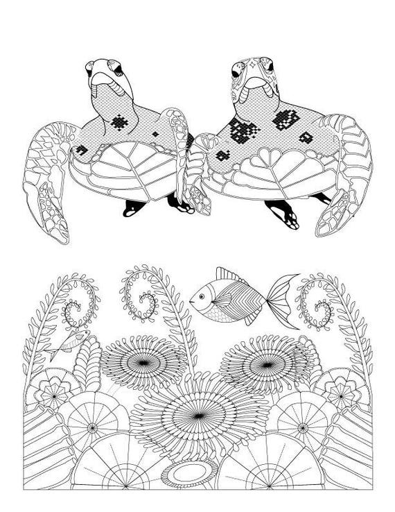 Sea Turtles and Ocean Flowers Coloring Page for Adults