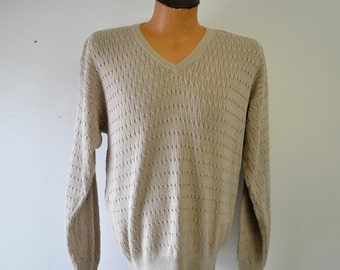 Tricots St. Raphael tan v-neck sweater....vintage 1970s...size large