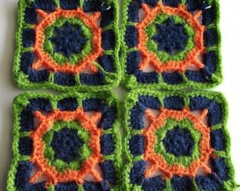 Set of 4 Granny square green blue orange 10 cm
