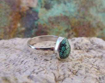 Spiderweb Turquoise Ring Size 9 in Sterling Silver, Natural .925 Hubei Teardrop Turquoise Gemstone Ring, Genuine Turquoise Jewelry - GSP455X