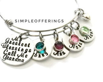 Personalized Grandma Bracelet - Nana Bracelet, Mothers Day Gift for Grandma, My Greatest Blessings Call Me Grandma, Grandma Gift, Nana Gift