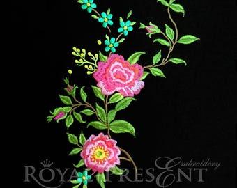Machine Embroidery Design Garden roses - 3 sizes