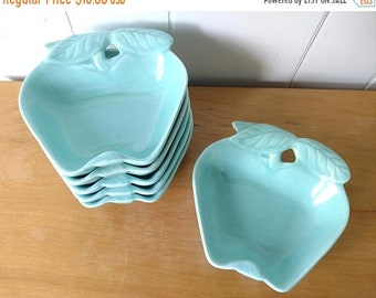 MEMORIAL DAY SALE vintage aqua blue apples dishes by Hoenig California Pottery