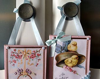 """Pair of small frames """"Our cute Easter of yesteryear"""""""