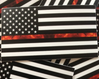 Thin Red Line American Flag Decal - Firefighter Helmet Stickers -  Firefighter Gift