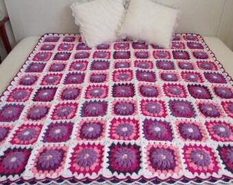 CROCHET PATTERN BLANKET - Majesty Blanket  granny squares blanket  flowers blanket crocheted baby blanket pdf instant download motif flowers