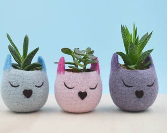 Valentine gift for her, plant lady gift, Succulent planters, 7 year Anniversary, Cat lover gift for women, Cat planter, Set of 3 planters