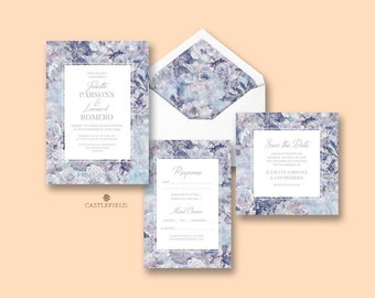 Castlefield Blue Lavender Purple Floral Luxury Wedding Event Invitations RSVP Menu Belly Band Placecards Stationery Customized Printable