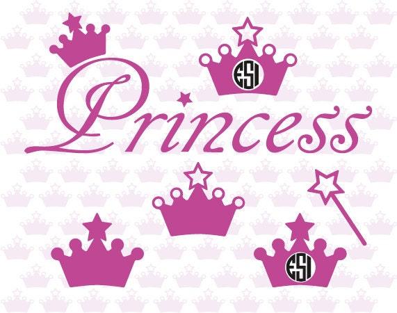 Princess Svg Files Crown Wand Word Art Svg Dxf Eps