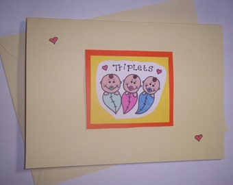 Triplets Card Custom Handmade Personalised Card - New Baby Triplets Announcement/Congratulations Card