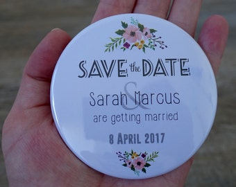 Save the Date Magnets, Classic Floral - 75mm