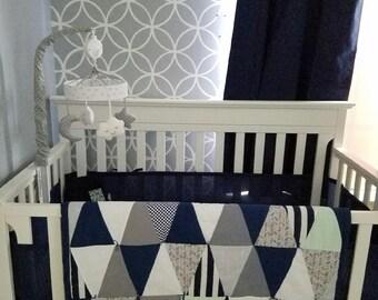 modern geometric triangle baby crib quilt