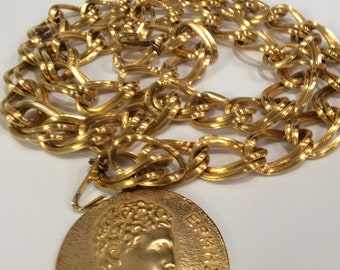 Vintage Maxine Denker Gold Tone Chunky Massive chain Belt 1980s Bold Statement Piece Marked