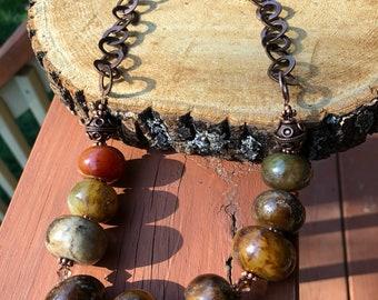 Dark Jasper and Copper Necklace