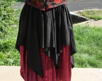 Renaissance Medieval Pirate Wench Top Petal OVER SKIRT by LaLize5