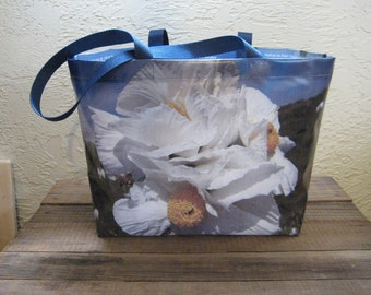 Large Vinyl Tote Bag - Matilija Poppy w/Bee - Romneya trichocalyx - Different image on each side