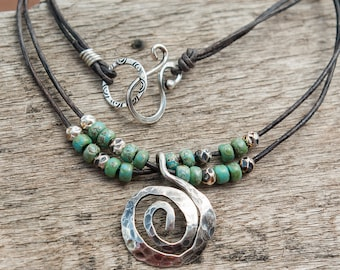 Jewelry, leather necklace, free shipping, gift for her,  spiral pendant necklace, bohemian necklace, turquoise beads, leather necklace