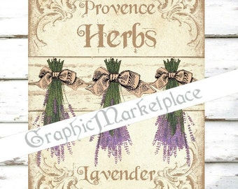 Digital Lavender Herbs Provence Country Kitchen Lavande Download Linen Fabric collage sheet graphic printable No. 635