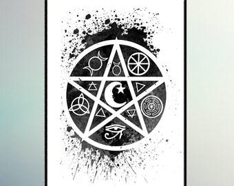 Pagan Symbols Watercolor art  Watercolor Printing. Room Wall Decor Art. Wall Hanging.  A299