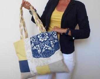 Large Tote Bag, Yellow Canvas Bag, Crochet Bag, Patchwork Bag, Zipper Tote Bag, Summer Tote, Gift for Woman, Shopper Bag, Canvas Handbag