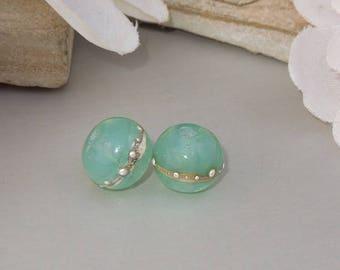 Handmade Lampwork Glass Round Bead Pair SRA DIY-Bastets Beads- SIlver Jade
