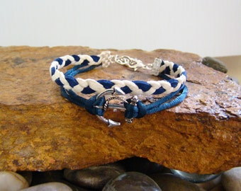 Nautical Leather Anchor Bracelet