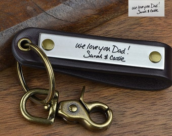 Custom Handwriting Gift, Actual Handwriting Keychain - Real Handwritten Note or Signature engraved, Made in USA