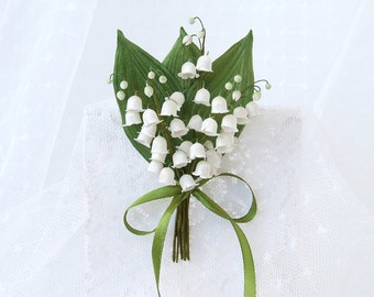 Silk flower brooch, lily of the valley brooch, white flower pin, silk accessories,  bridesmaid gift, hand dyed brooch