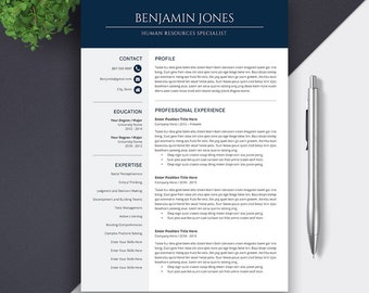 Professional Resume Template, CV Template, Cover Letter, MS Word, Mac PC, Creative Resume, Modern Teacher Simple Resume, Icon Set, Benjamin