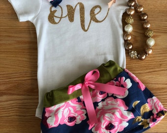 Floral first birthday outfit girl, 1st birthday girl outfit floral , Baby girls first birthday, One year old birthday girl outfit skirt