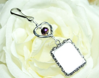Wedding bouquet photo charm. Purple crystal and small heart memorial charm. Gift for the bride. Remembrance photo.