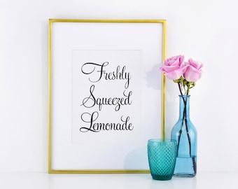 Freshly Squeezed Lemonade Wedding Drinks Sign, Wedding Drink Sign, Lemonade Sign, Outdoor Wedding Signs, Rustic Wedding Signs WFS04