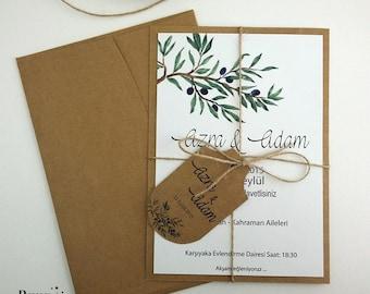 Olive Wedding Invitations,Olive Wedding Invitations, Floral Invitations, Olive Wedding Invitations, 1 INVITATION