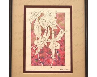 Fuchsia Flowers Papercutting- Handcut original