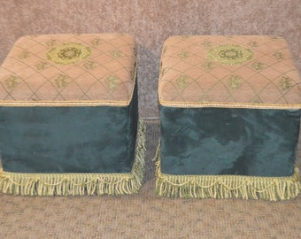 Pair of Hollywood Regency Style Benches w/Multi Fabric and Fringe Bottom