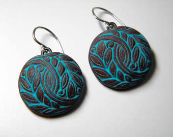Vintage Button Design Polymer Clay Earrings- brown and turquoise-dangle disk earrings-eco earrings