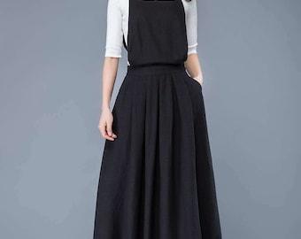 pinafore dress, linen pinafore dress, linen dress, linen dress women, overall dress, long linen dress, suspender dress, long dress C1053