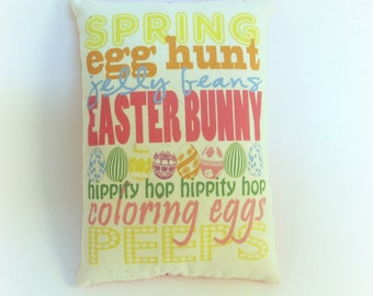 Easter pillow decor | Easter subway art | Spring decor | Primitive spring pillow | Easter gift | Easter Basket stuffer | Spring decoration