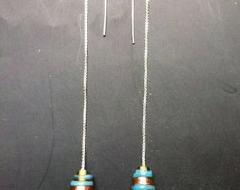 Blue small multi-faceted chain earrings and glass bead earrings