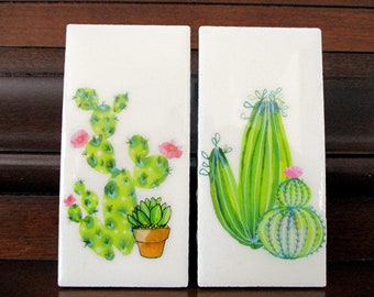 "Cactus Magnets on rectangular ceramic tiles. For Home or Office. 4""x 2"" each."