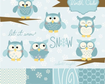 50% OFF SALE! Instant Download -Winter Owls: Digital Clipart and Paper Set
