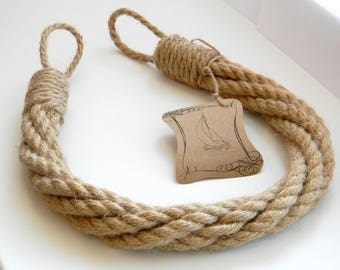 Thick Jute Rope Curtain Tiebacks-Shabby Chic ties-Nautical Decor-Industrial holdbacks - Twisted Jute Rope